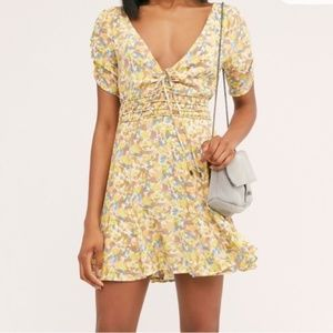 Free People Forget Me Not Mini Smocked Dress NWT